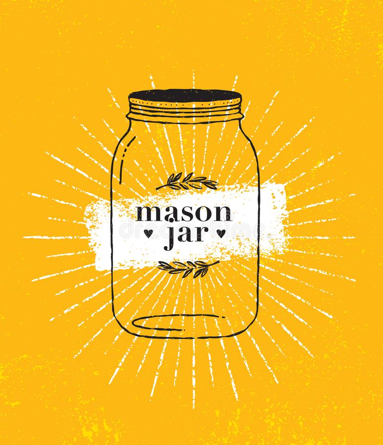 Fond lumineux de papier approximatif de Mason Jar Organic Illustration On Concept de construction de vecteur de menu d'été illustration libre de droits