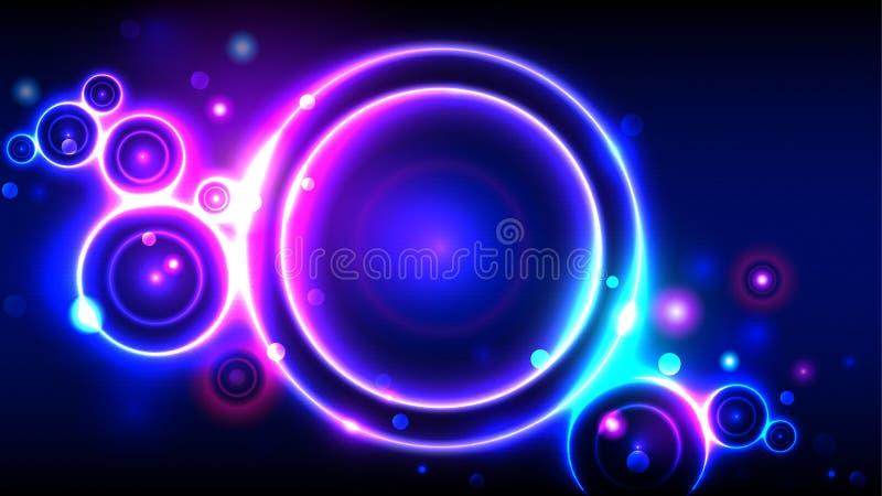 Fond lumineux de partie, cercles rougeoyants au néon, bokeh rond multicolore de cadre de résumé illustration stock