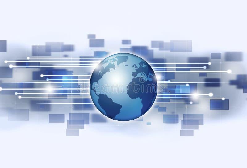Fond lumineux de technologie de connexions globales illustration de vecteur