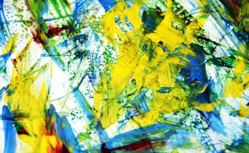 Fond lumineux rouge bleu argenté jaune d'aquarelle de peinture de tache floue de mélange, fond de peinture abstrait d'aquarelle illustration stock