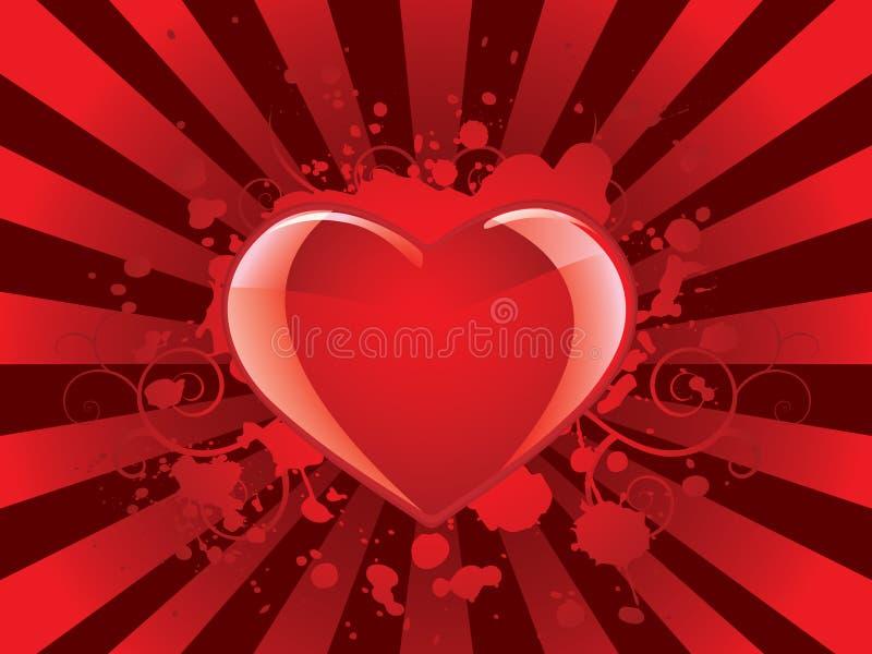 Fond lustré de coeur de valentines illustration stock
