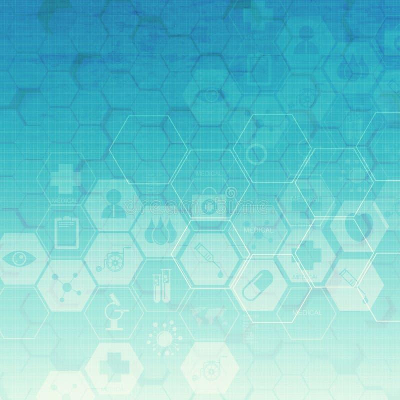 Fond médical abstrait d'hexagone illustration de vecteur
