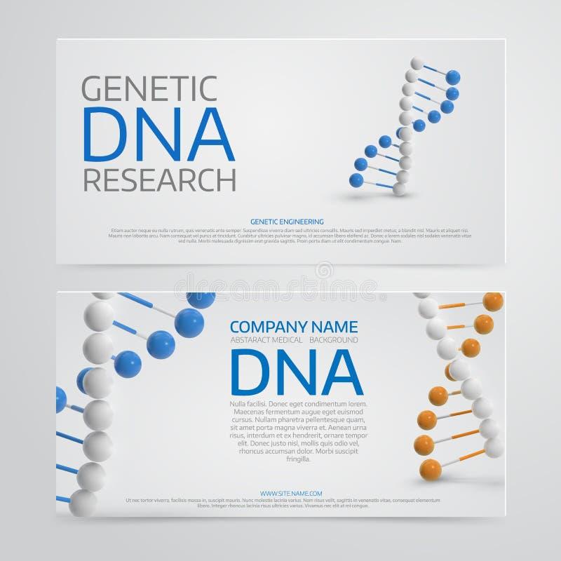 Fond médical coloré abstrait avec la molécule d'ADN 3d PO illustration de vecteur