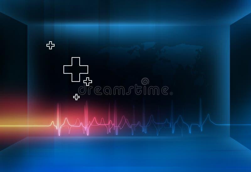 Fond médical de l'espace du résumé 3d avec les symboles plus et le monde illustration stock