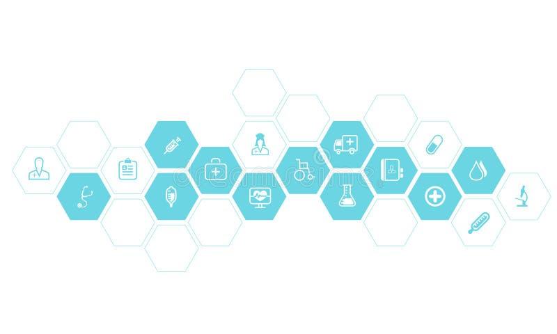 Fond médical et de santé d'icônes de vecteur illustration de vecteur