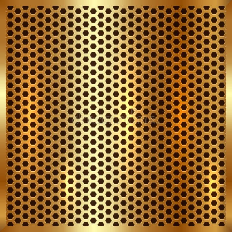 Fond métallique de cellules d'or de vecteur illustration de vecteur