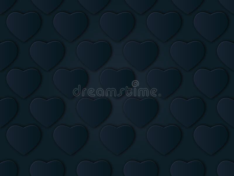fond métallique de Saint-Valentin du coeur 3D Belle forme réaliste des coeurs rouges et argentés Disposition décorative de grille illustration stock