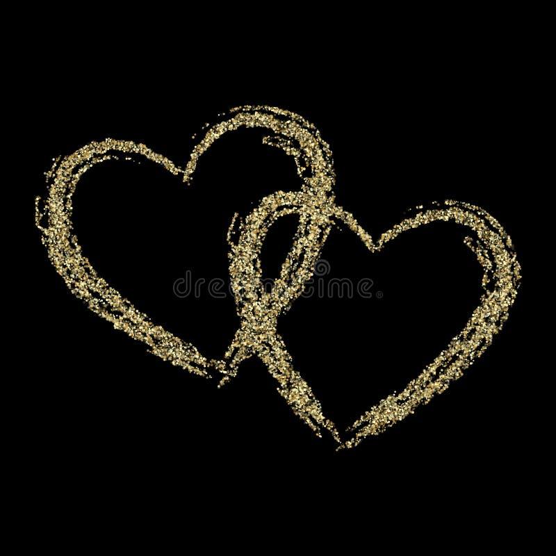 Fond métallique de vecteur de coeur de confettis de la poussière de scintillement d'étincelles d'or illustration stock