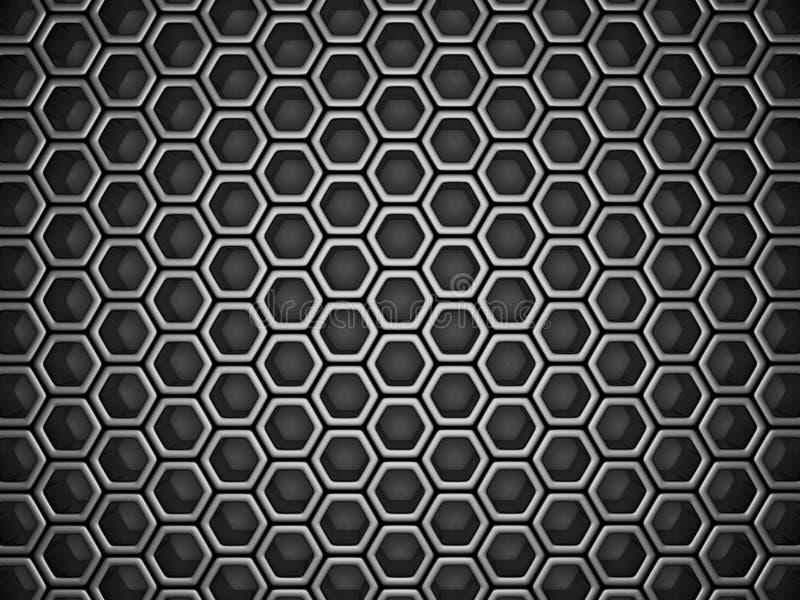 Fond métallique industriel argenté foncé de modèle d'hexagone illustration stock