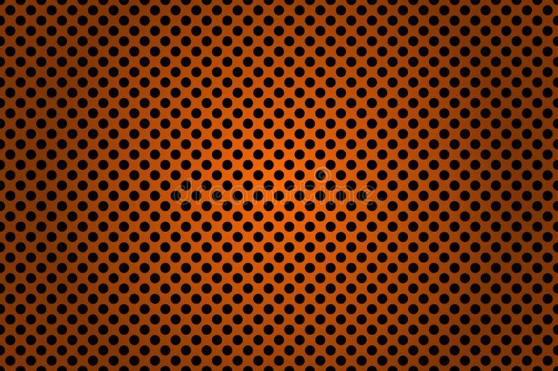 Fond métallique noir et orange perforé illustration de vecteur
