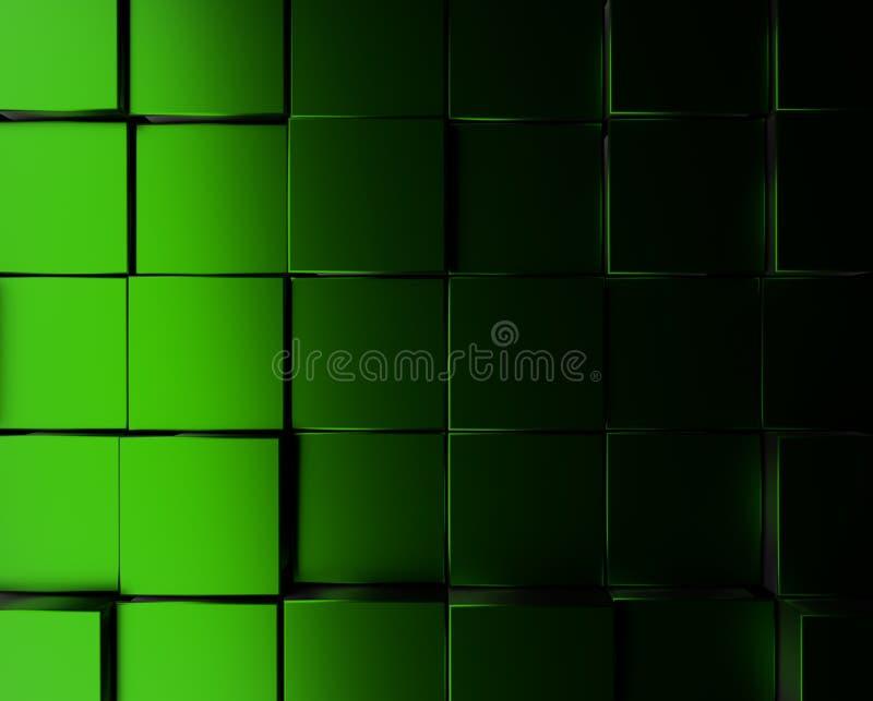 Fond métallique vert de cubes illustration stock