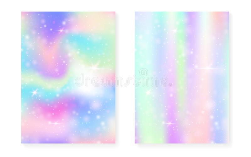 Fond magique avec le gradient d'arc-en-ciel de princesse Licorne de Kawaii illustration stock