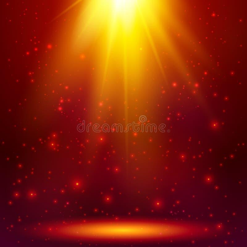 Fond magique brillant rouge de lumière de vecteur illustration stock