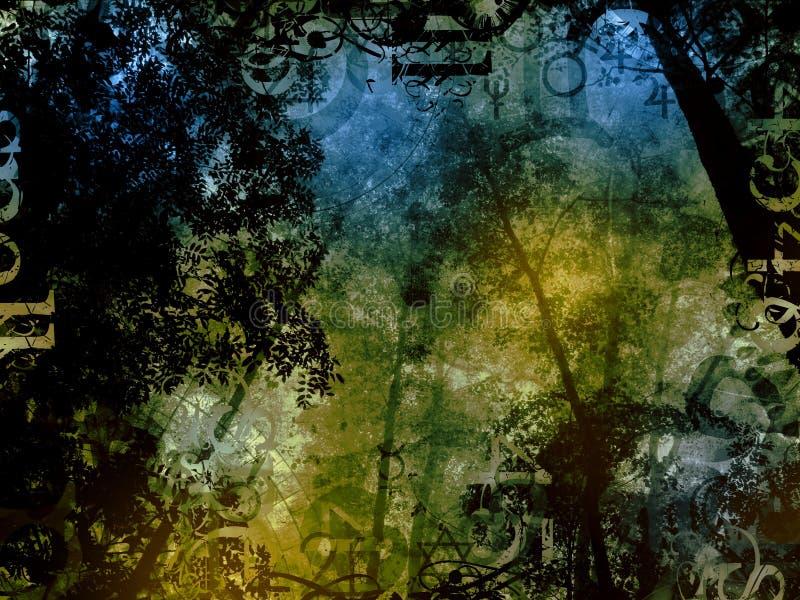 Fond magique d'imagination de forêt mystérieuse illustration de vecteur