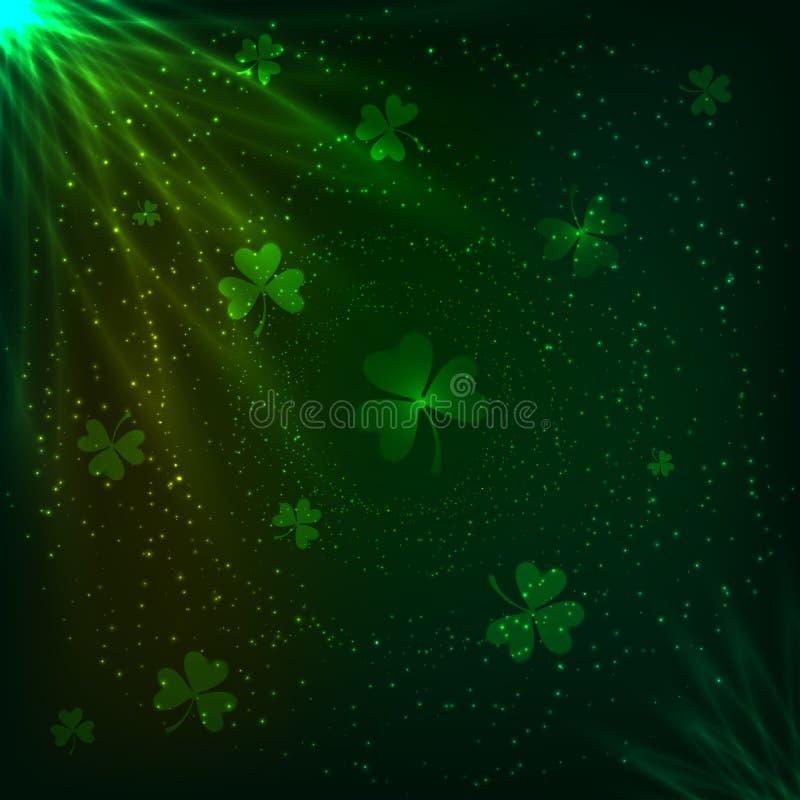 Fond magique de vecteur de trèfles verts brillants illustration de vecteur