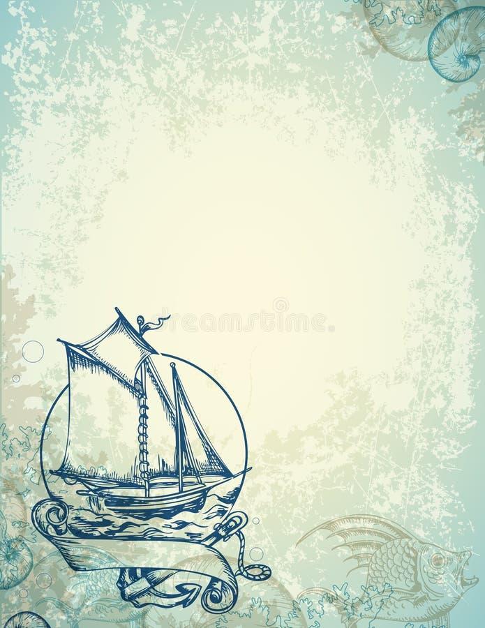 Fond marin de vintage avec le bateau illustration stock
