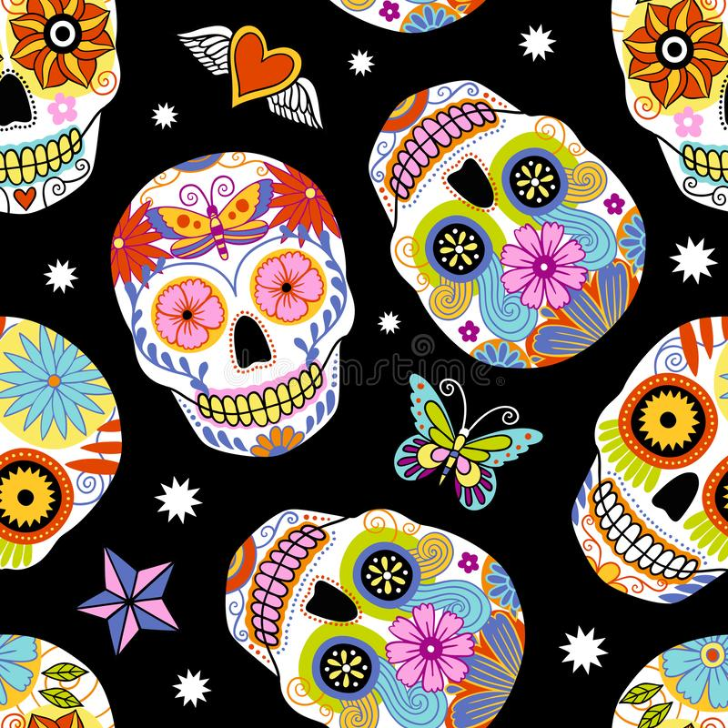 Fond mexicain traditionnel de crânes de sucre photos libres de droits