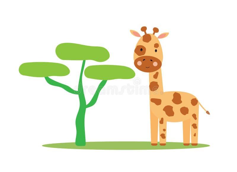 Fond mignon de girafe illustration de vecteur