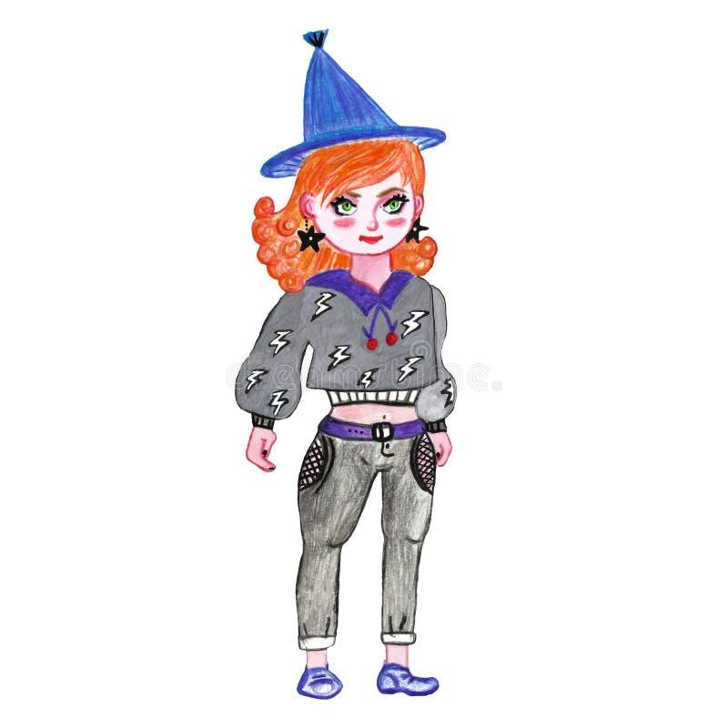 Fond mignon de Halloween de bande dessinée, modèle sans couture avec des symboles de Halloween et caractères illustration libre de droits