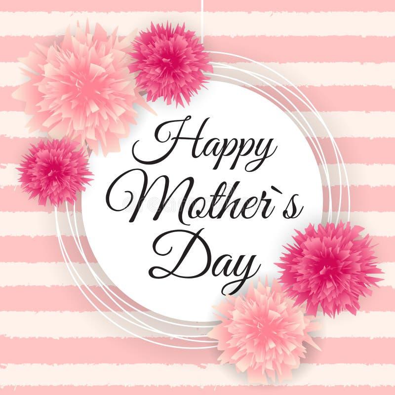 Fond mignon de jour heureux de la mère s avec des fleurs Vecteur illustration stock