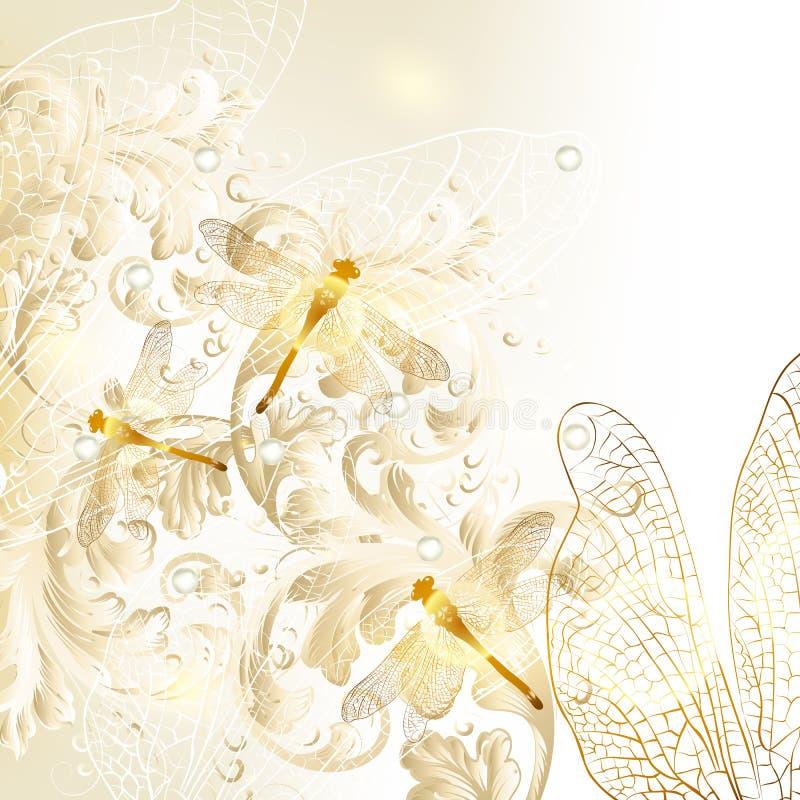 Fond floral de mariage élégant avec l'ornement et la libellule illustration stock