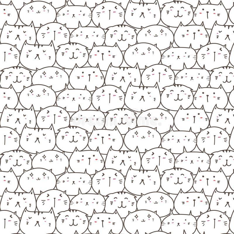 Fond mignon de modèle de vecteur de chats Griffonnage d'amusement illustration de vecteur