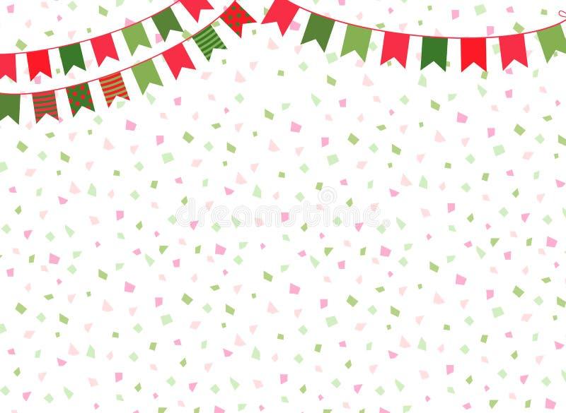 Fond mignon de Noël de vecteur avec des drapeaux d'étamine de partie pour des décorations d'hiver illustration libre de droits