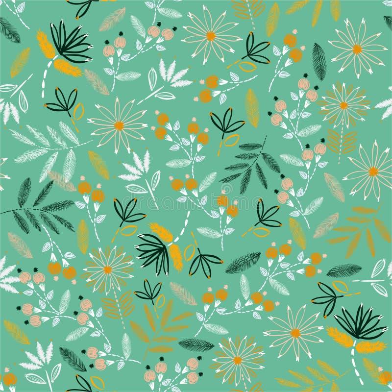 Fond mignon de point de main d'humeur de broderie Broderie de floraison traditionnelle la conception d'illustration de vecteur po illustration de vecteur