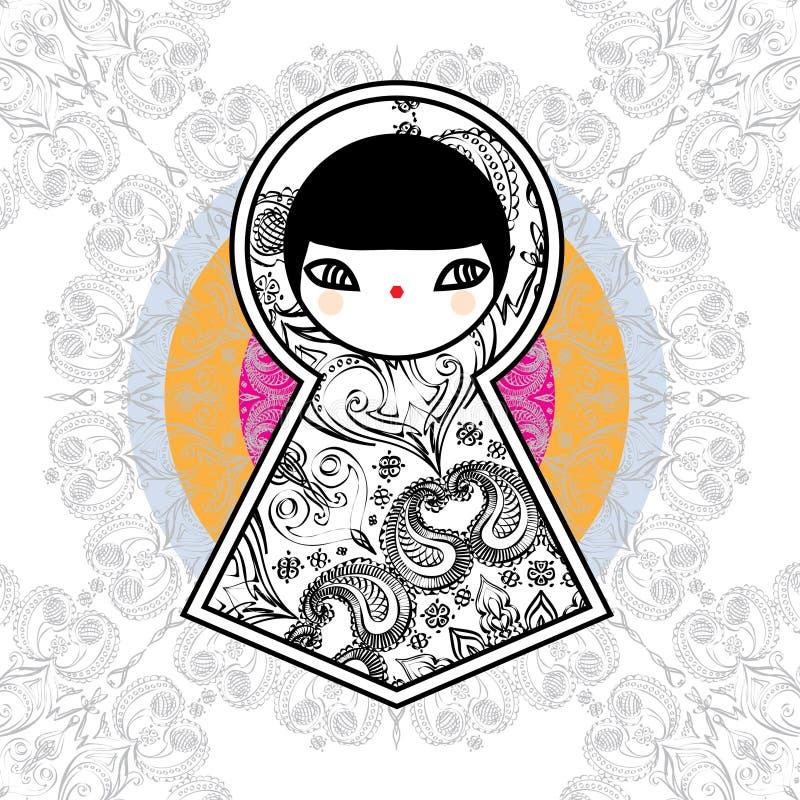 Fond mignon géométrique de poupée de Babushka Matryoshka de vecteur images libres de droits