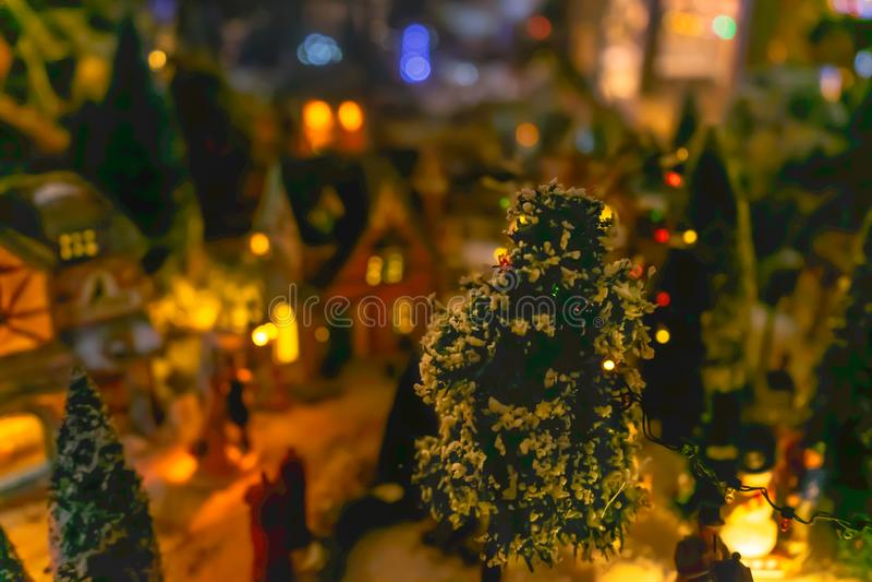 Fond miniature de village de Noël photos stock