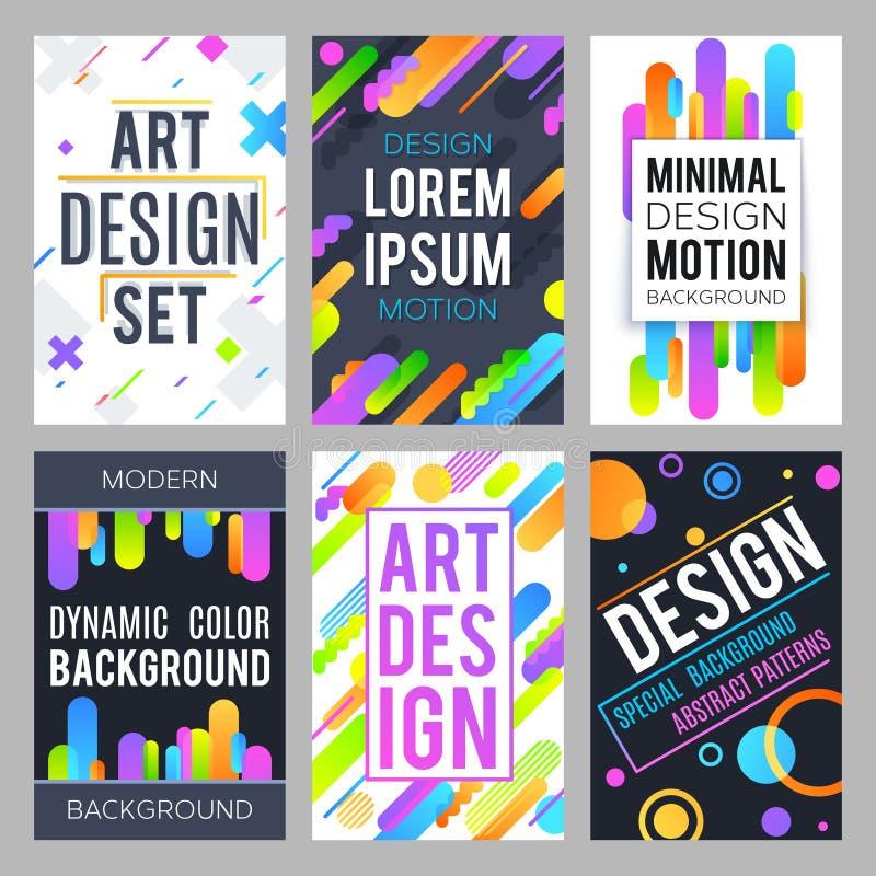 Fond minimal de vecteur de conception avec les formes dynamiques abstraites de couleur et l'ensemble géométrique à la mode de vec illustration de vecteur