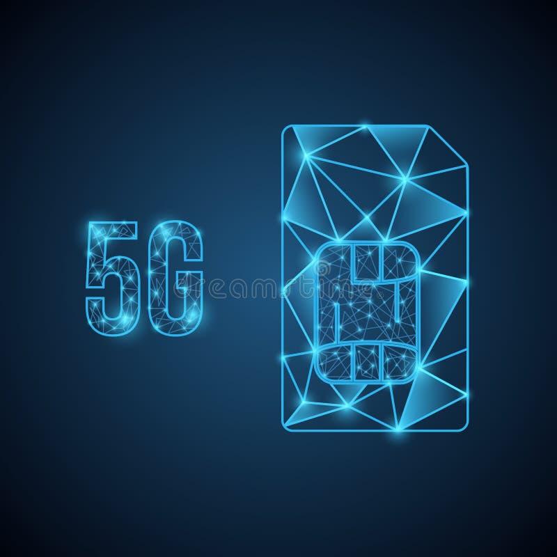 fond mobile de technologie de réseau 5g banni?re de la nouvelle technologie 5G Signe de puce de carte de SIM Illustration courant illustration stock