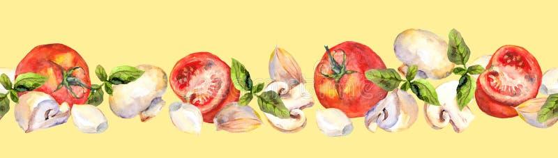 Fond modelé avec les légumes végétariens : tomates, champignons, ail et basilic illustration stock