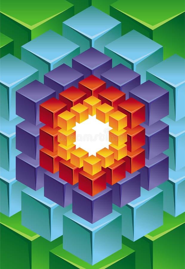 Fond moderne abstrait avec le cube illustration stock