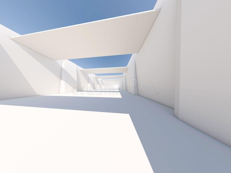Fond moderne abstrait d'architecture, l'espace ouvert blanc vide illustration stock