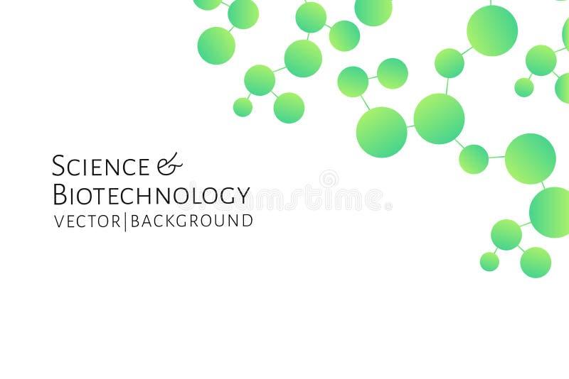 Fond moderne avec les liaisons chimiques vertes, modèle de molécules Médecine, la science, biotechnologie, pharmacologie illustration de vecteur