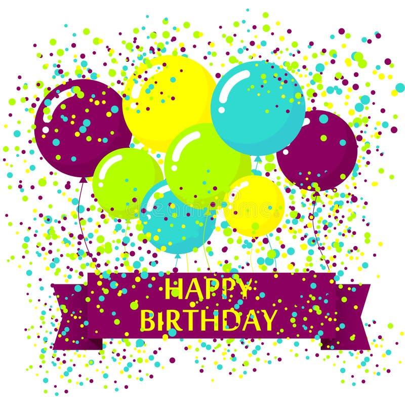 Fond moderne d'anniversaire avec les ballons colorés illustration stock