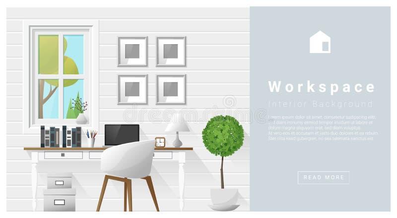 Download Fond Moderne D'espace De Travail De Conception Intérieure Illustration de Vecteur - Illustration du maison, bureau: 77153317