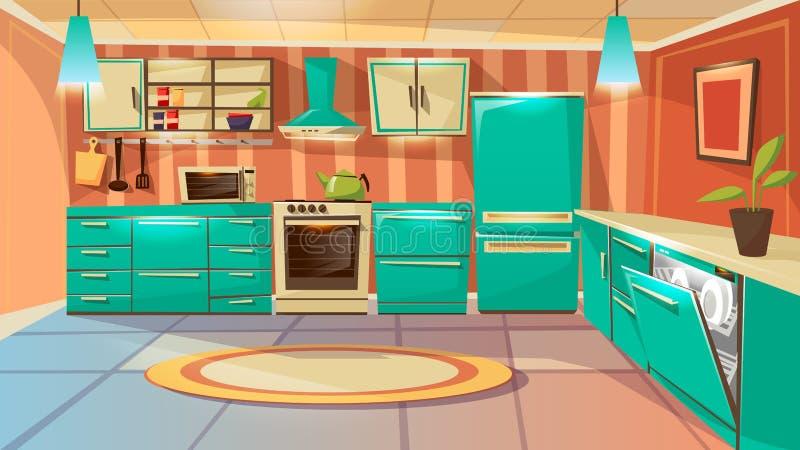 fond moderne d'intérieur de cuisine de bande dessinée illustration de vecteur