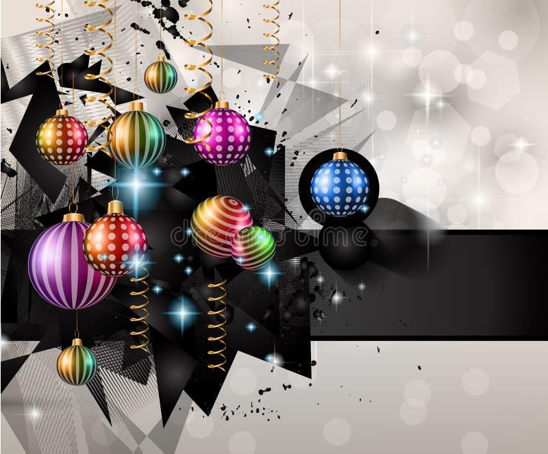 Fond moderne de Noël avec des boules et des lumières d'étoile illustration libre de droits