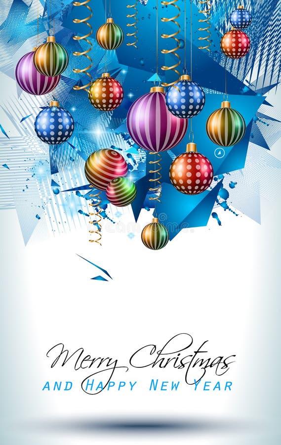 Fond moderne de Noël avec des boules et des lumières d'étoile illustration de vecteur