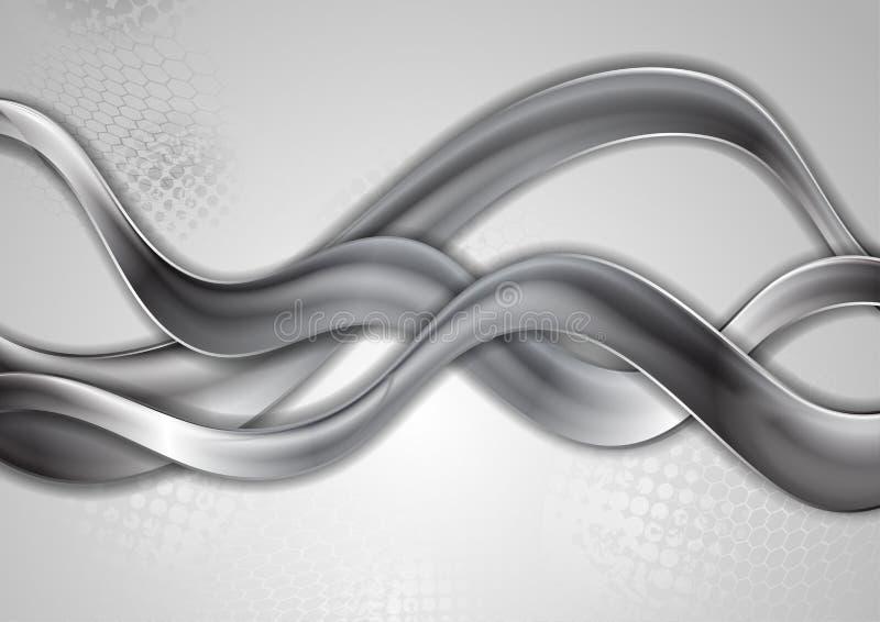 Fond moderne de vagues métalliques grises abstraites illustration stock