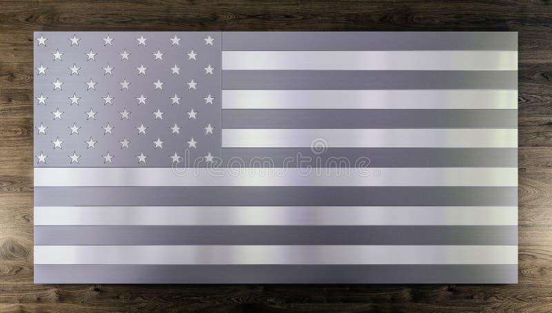 Fond moderne frais, drapeau d'isolement des Etats-Unis fabriqué à partir de différents types de planches balayées en métal, acier illustration de vecteur