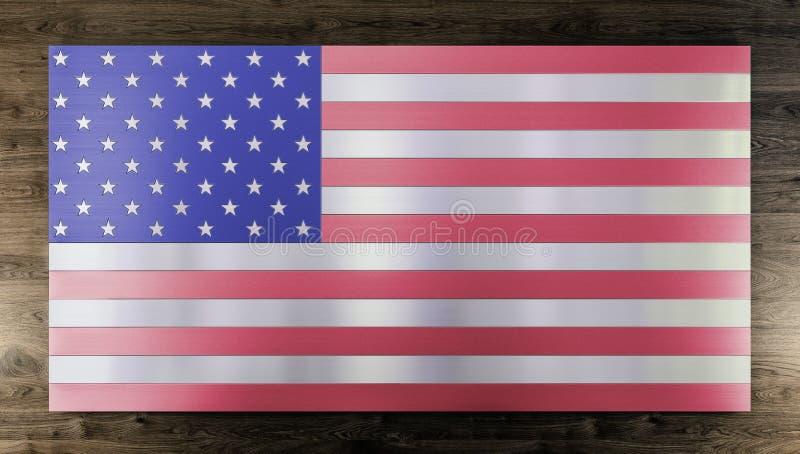 Fond moderne frais, drapeau d'isolement des Etats-Unis fabriqué à partir de différents types de planches balayées en métal, acier illustration libre de droits