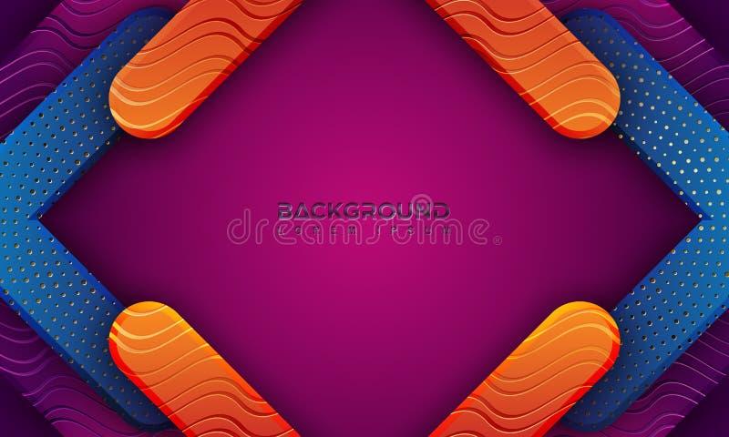 Fond moderne texturisé avec le style 3D et les lignes onduleuses Fond coloré abstrait de papercut avec les lignes onduleuses illustration de vecteur