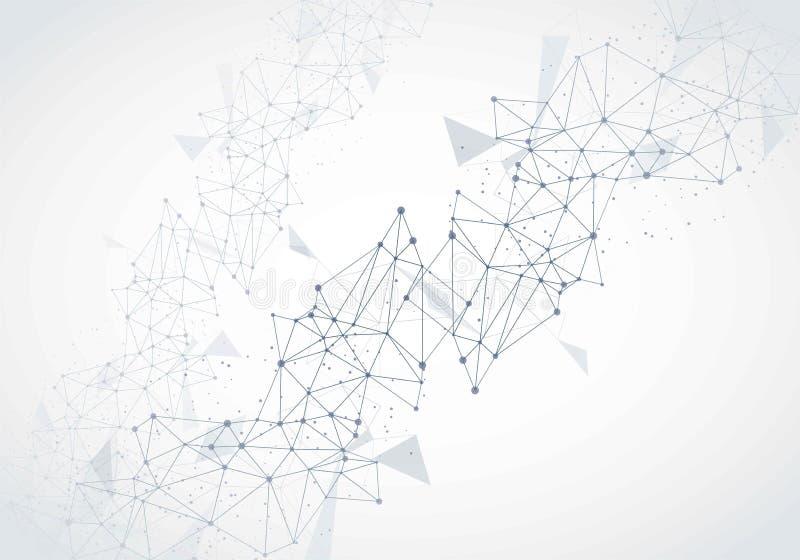 Fond moléculaire abstrait avec des lignes et des points illustration stock