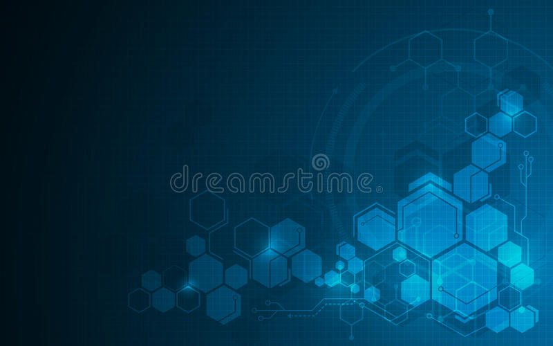 Fond moléculaire abstrait de concept de construction du sci fi de technologie de modèle d'hexagone illustration libre de droits