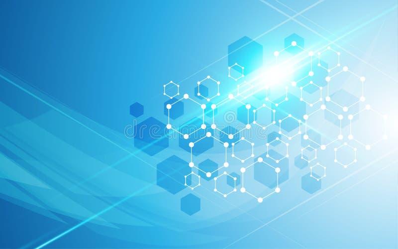 Fond moléculaire de conception de modèle en concept d'hexagone scientifique abstrait de cube illustration de vecteur