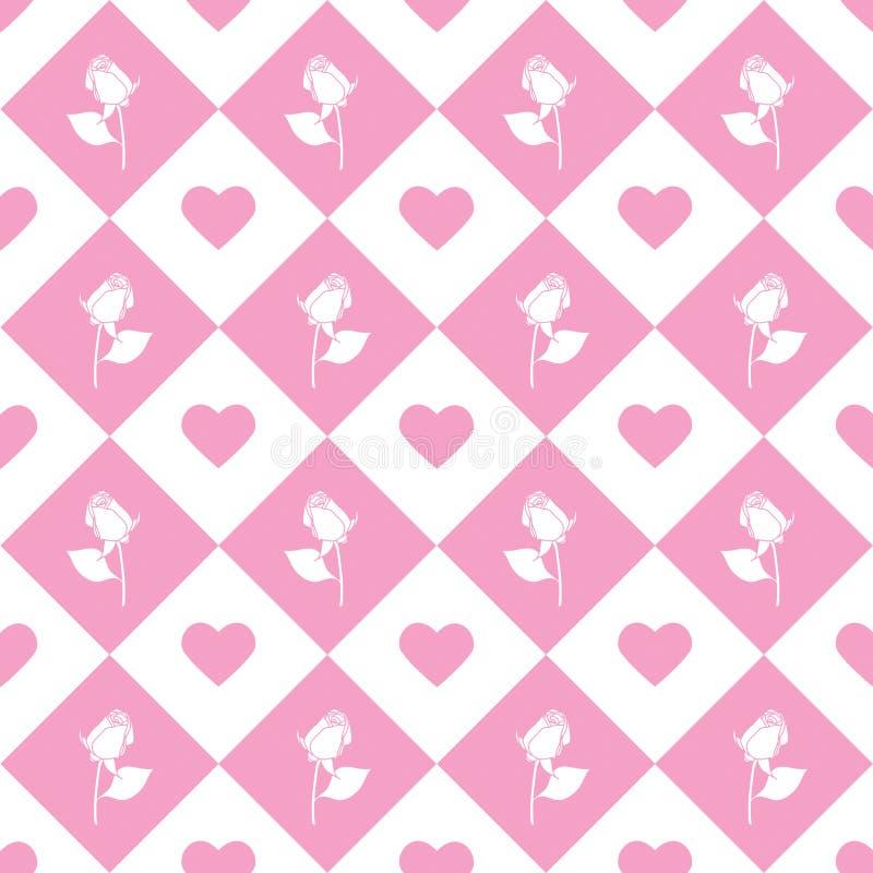 Fond monochromatique géométrique de vecteur sans couture de roses - modèle pour la réplique continue sur le fond rose illustration stock