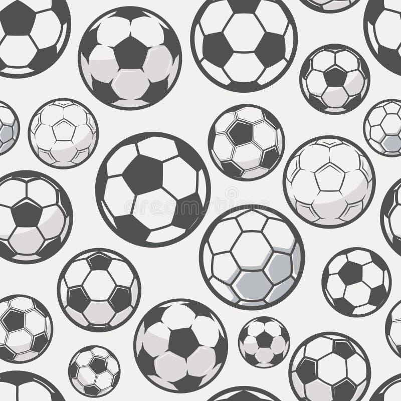 Fond monochrome de ballons de football Le football ou le football connexe Configuration sans joint illustration de vecteur